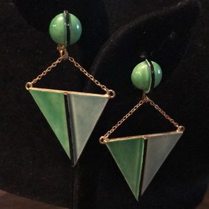 Green enameled triangle shaped clip on earrings